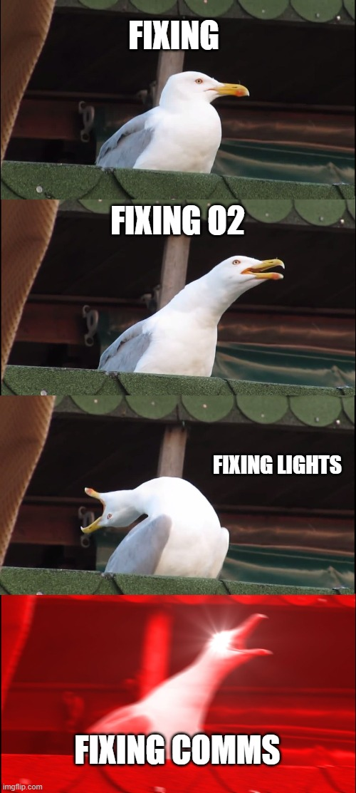 Inhaling Seagull Meme |  FIXING; FIXING O2; FIXING LIGHTS; FIXING COMMS | image tagged in memes,inhaling seagull | made w/ Imgflip meme maker