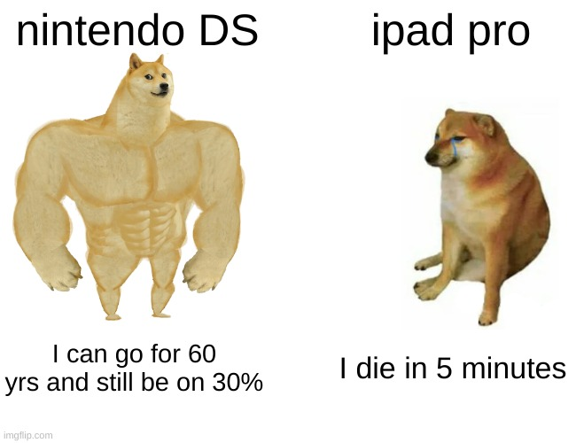 Buff Doge vs. Cheems Meme |  nintendo DS; ipad pro; I can go for 60 yrs and still be on 30%; I die in 5 minutes | image tagged in memes,buff doge vs cheems | made w/ Imgflip meme maker