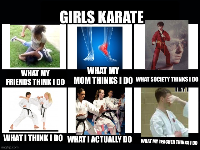 What my friends think I do |  GIRLS KARATE; WHAT MY MOM THINKS I DO; WHAT MY FRIENDS THINK I DO; WHAT SOCIETY THINKS I DO; WHAT I THINK I DO; WHAT I ACTUALLY DO; WHAT MY TEACHER THINKS I DO | image tagged in what my friends think i do,karate kyle,karate,karate kid,lmao,what people think i do | made w/ Imgflip meme maker