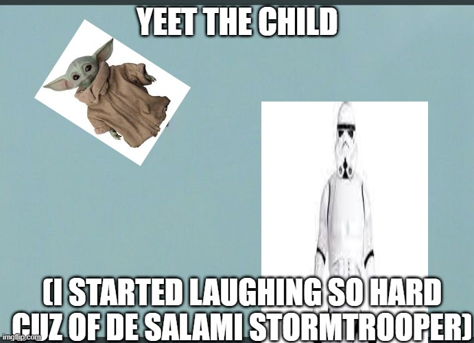 yeet the child |  YEET THE CHILD; (I STARTED LAUGHING SO HARD CUZ OF DE SALAMI STORMTROOPER) | image tagged in baby yeet | made w/ Imgflip meme maker