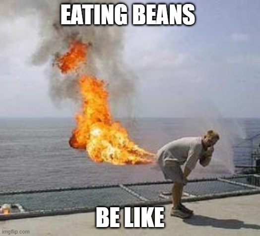 Fart |  EATING BEANS; BE LIKE | image tagged in fart | made w/ Imgflip meme maker