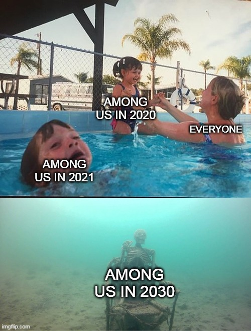 My prediction |  AMONG US IN 2020; EVERYONE; AMONG US IN 2021; AMONG US IN 2030 | image tagged in mother ignoring kid drowning in a pool | made w/ Imgflip meme maker