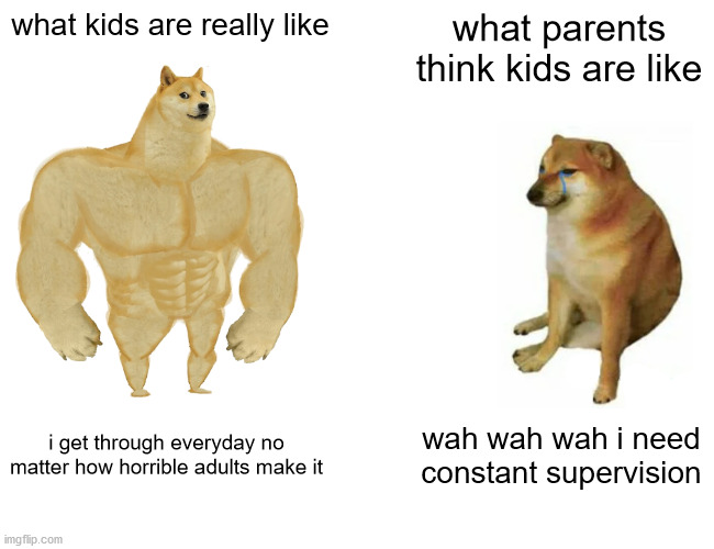 Who do they think we are?! |  what kids are really like; what parents think kids are like; i get through everyday no matter how horrible adults make it; wah wah wah i need constant supervision | image tagged in memes,buff doge vs cheems | made w/ Imgflip meme maker