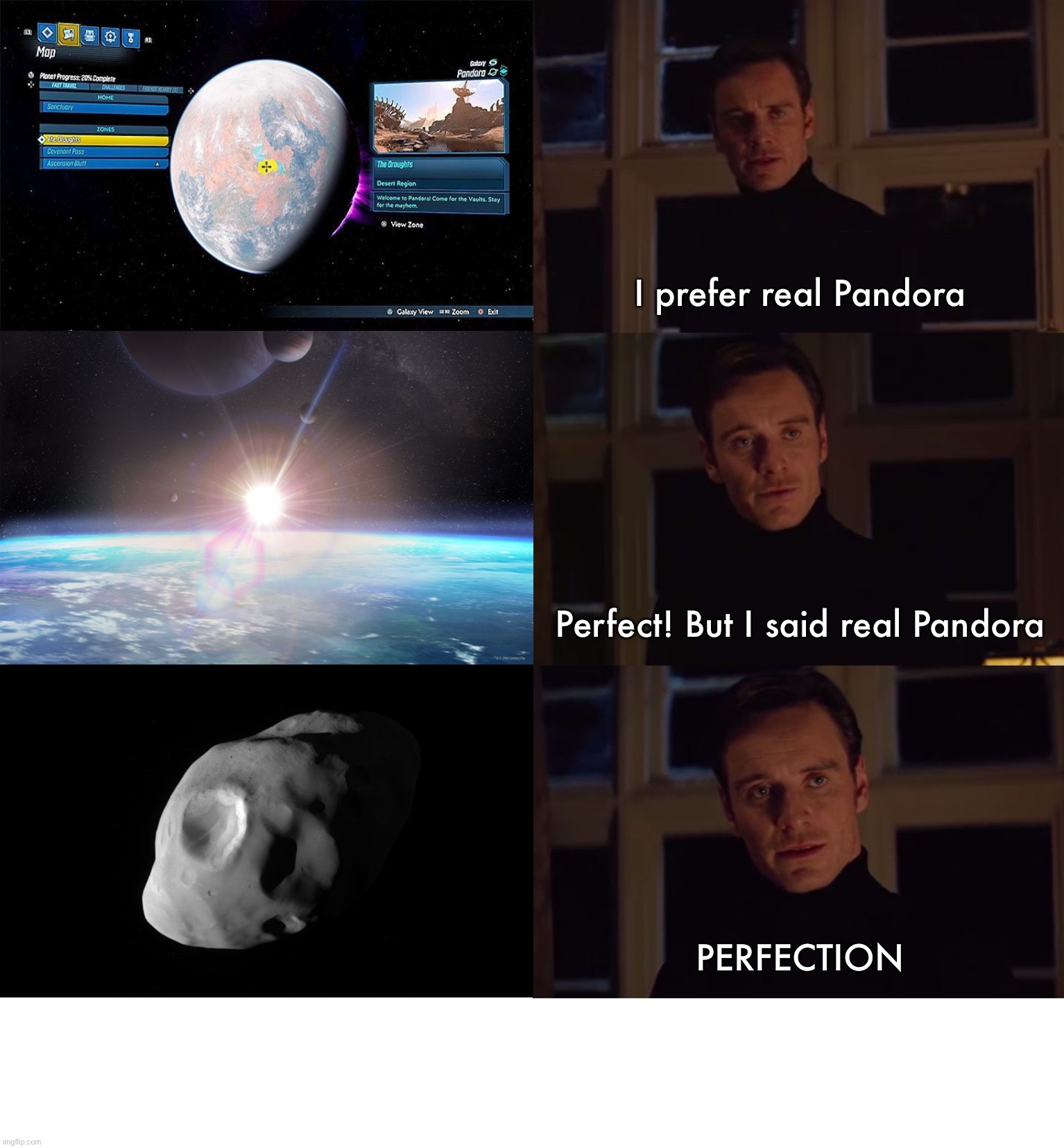 perfection |  I prefer real Pandora; Perfect! But I said real Pandora; PERFECTION | image tagged in perfection,avatar,astronomy,sci-fi,science fiction,solar system | made w/ Imgflip meme maker