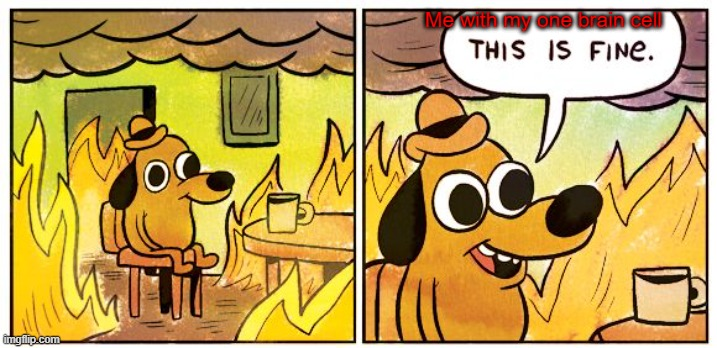This Is Fine |  Me with my one brain cell | image tagged in memes,this is fine | made w/ Imgflip meme maker