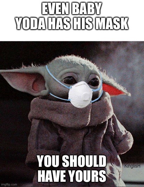 Coronavirus Baby Yoda |  EVEN BABY YODA HAS HIS MASK; YOU SHOULD HAVE YOURS | image tagged in coronavirus baby yoda | made w/ Imgflip meme maker