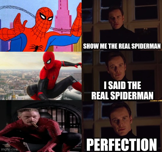 james jonah jameson is the only good spiderman |  SHOW ME THE REAL SPIDERMAN; I SAID THE REAL SPIDERMAN; PERFECTION | image tagged in perfection,spiderman,j jonah jameson,memes,gifs,lol | made w/ Imgflip meme maker