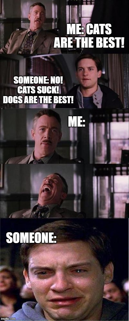 Peter Parker Cry |  ME: CATS ARE THE BEST! SOMEONE: NO! CATS SUCK! DOGS ARE THE BEST! ME:; SOMEONE: | image tagged in memes,peter parker cry | made w/ Imgflip meme maker