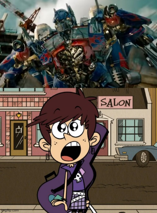 Luna Loud gazes at Optimus Prime | image tagged in the loud house,transformers,optimus prime,luna loud,paramount,nickelodeon | made w/ Imgflip meme maker