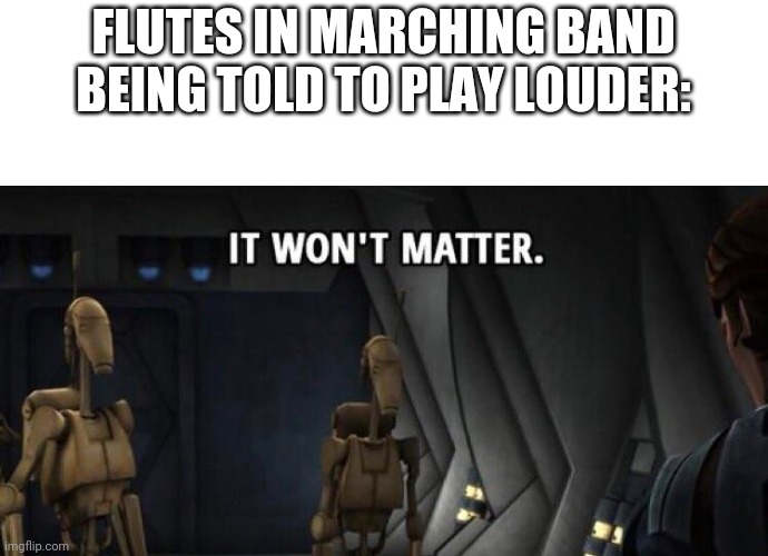 ... |  FLUTES IN MARCHING BAND BEING TOLD TO PLAY LOUDER: | image tagged in band | made w/ Imgflip meme maker