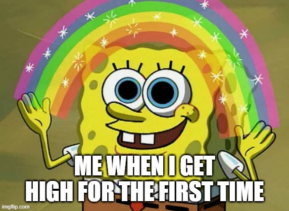 Imagination Spongebob |  ME WHEN I GET HIGH FOR THE FIRST TIME | image tagged in memes,imagination spongebob | made w/ Imgflip meme maker