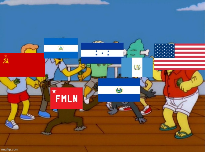 Salvadoran Civil War in a nutshell | image tagged in simpsons monkey fight,united states of america,civil war,moe,soviet union,cold war | made w/ Imgflip meme maker