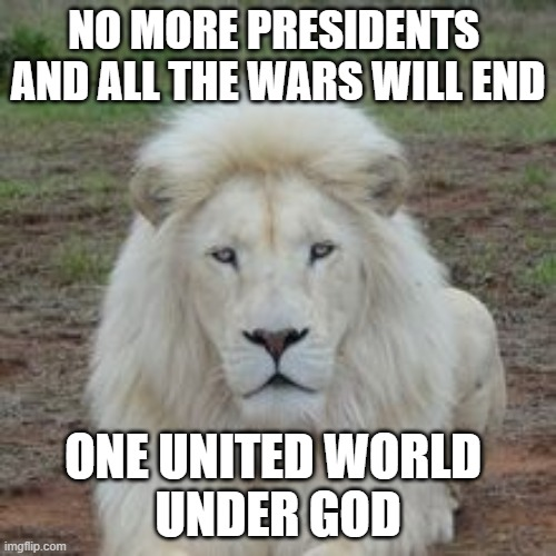 White Lion |  NO MORE PRESIDENTS  AND ALL THE WARS WILL END; ONE UNITED WORLD  UNDER GOD | image tagged in white lion,rock music,world peace | made w/ Imgflip meme maker