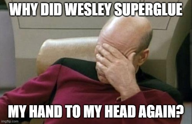Captain Picard Facepalm Meme |  WHY DID WESLEY SUPERGLUE; MY HAND TO MY HEAD AGAIN? | image tagged in memes,captain picard facepalm | made w/ Imgflip meme maker