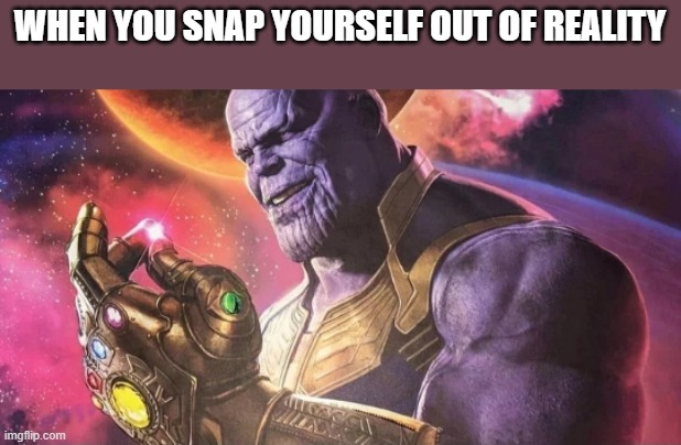 Thanos Snap | WHEN YOU SNAP YOURSELF OUT OF REALITY | image tagged in thanos snap | made w/ Imgflip meme maker
