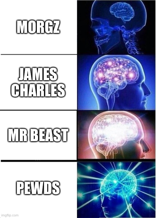 Expanding Brain |  MORGZ; JAMES CHARLES; MR BEAST; PEWDS | image tagged in memes,expanding brain | made w/ Imgflip meme maker