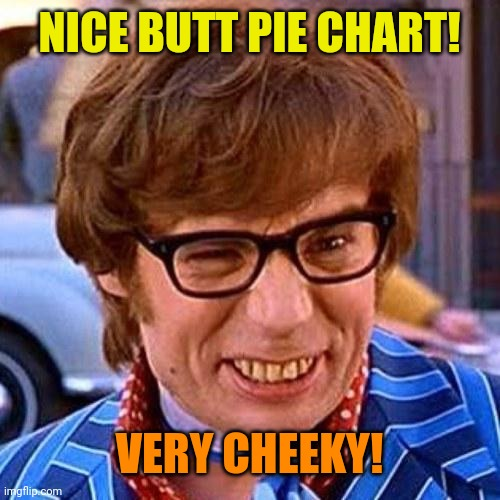 Austin Powers Wink | NICE BUTT PIE CHART! VERY CHEEKY! | image tagged in austin powers wink | made w/ Imgflip meme maker