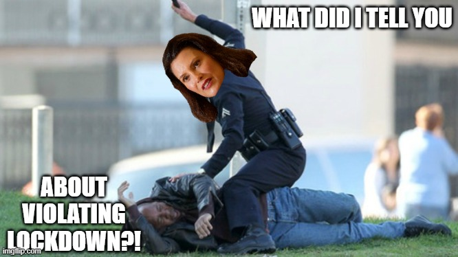 Cop Beating | WHAT DID I TELL YOU ABOUT VIOLATING LOCKDOWN?! | image tagged in cop beating | made w/ Imgflip meme maker