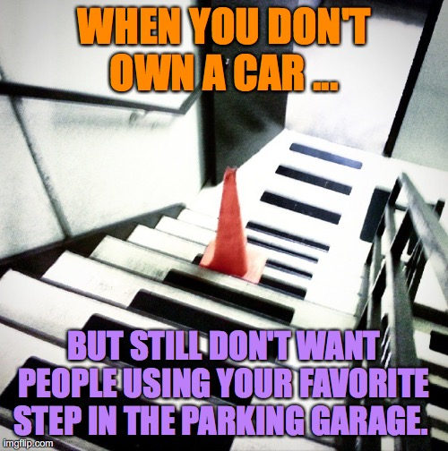 Cone steps |  WHEN YOU DON'T OWN A CAR ... BUT STILL DON'T WANT PEOPLE USING YOUR FAVORITE STEP IN THE PARKING GARAGE. | image tagged in down time leave me a cone,do,not,use,my,step | made w/ Imgflip meme maker