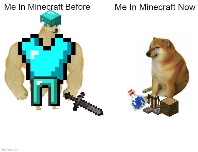 Buff Doge vs. Cheems |  Me In Minecraft Before; Me In Minecraft Now | image tagged in memes,buff doge vs cheems | made w/ Imgflip meme maker