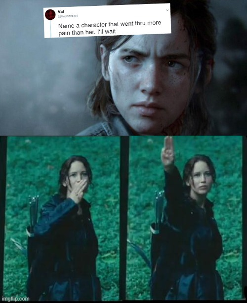 image tagged in name someone who has been through more pain,katniss respect,hunger games | made w/ Imgflip meme maker