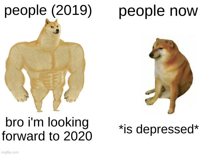 Buff Doge vs. Cheems |  people (2019); people now; bro i'm looking forward to 2020; *is depressed* | image tagged in memes,buff doge vs cheems | made w/ Imgflip meme maker