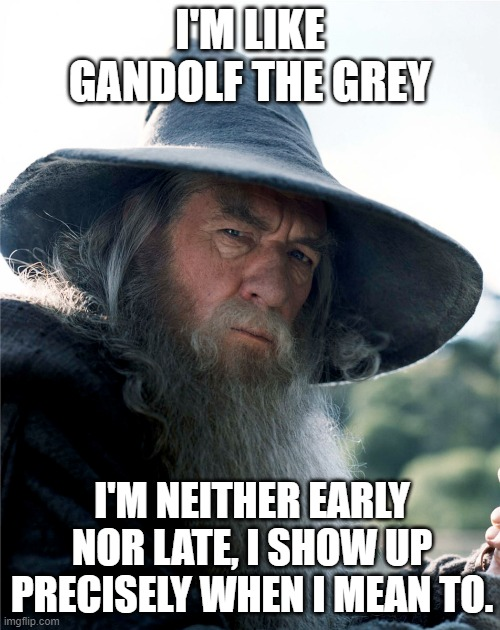 Gandolf's Time |  I'M LIKE GANDOLF THE GREY; I'M NEITHER EARLY NOR LATE, I SHOW UP PRECISELY WHEN I MEAN TO. | image tagged in gandolf,late,time | made w/ Imgflip meme maker