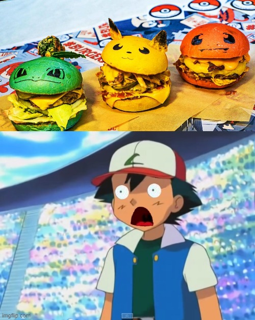 Pokémon burgers | image tagged in funny,memes,pokemon,burgers | made w/ Imgflip meme maker