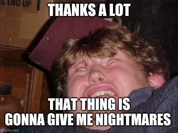 WTF Meme | THANKS A LOT THAT THING IS GONNA GIVE ME NIGHTMARES | image tagged in memes,wtf | made w/ Imgflip meme maker