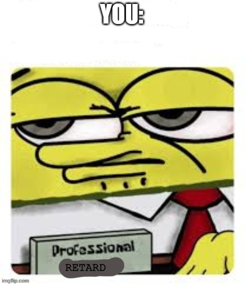 YOU: RETARD | image tagged in professional spongebob | made w/ Imgflip meme maker