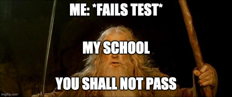 gandalf you shall not pass |  ME: *FAILS TEST*; MY SCHOOL; YOU SHALL NOT PASS | image tagged in gandalf you shall not pass | made w/ Imgflip meme maker