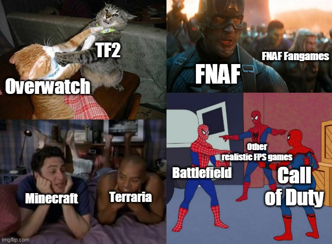 Video games community in a nutshell: |  TF2; FNAF Fangames; FNAF; Overwatch; Other realistic FPS games; Battlefield; Call of Duty; Minecraft; Terraria | image tagged in two cats fighting for real,best friends forever,avengers assemble,spiderman mirror,video games,gaming | made w/ Imgflip meme maker