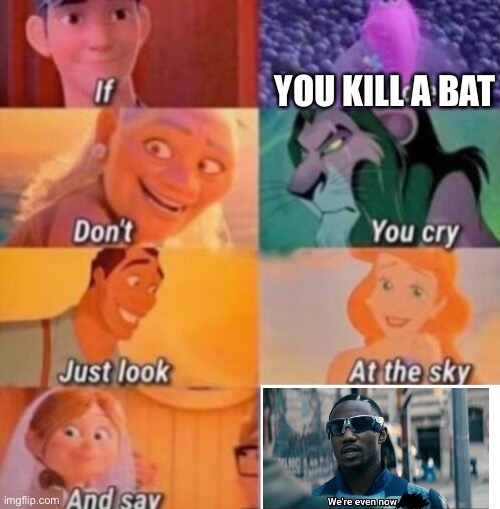 Karma to da bats |  YOU KILL A BAT | image tagged in if i die | made w/ Imgflip meme maker