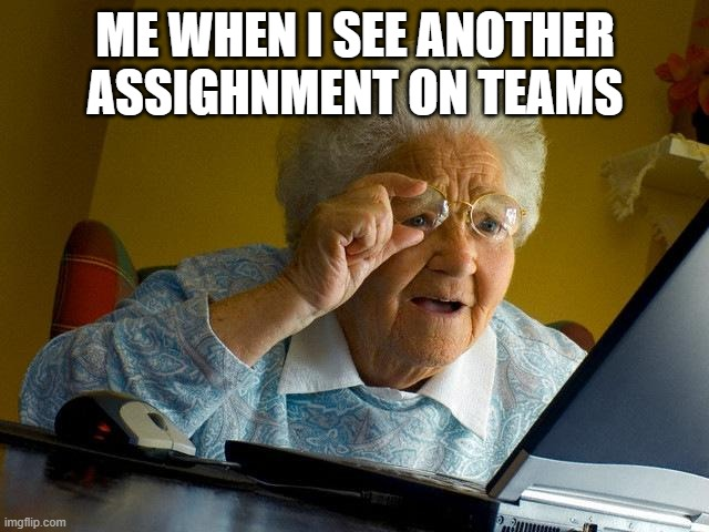Grandma Finds The Internet |  ME WHEN I SEE ANOTHER ASSIGHNMENT ON TEAMS | image tagged in memes,grandma finds the internet | made w/ Imgflip meme maker