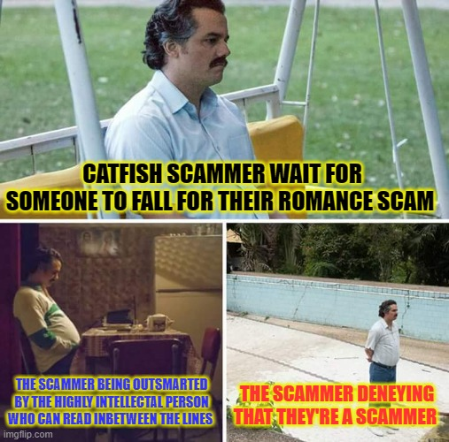 ROMANCE CATFISH SCAMMER |  CATFISH SCAMMER WAIT FOR SOMEONE TO FALL FOR THEIR ROMANCE SCAM; THE SCAMMER BEING OUTSMARTED BY THE HIGHLY INTELLECTAL PERSON WHO CAN READ INBETWEEN THE LINES; THE SCAMMER DENEYING THAT THEY'RE A SCAMMER | image tagged in memes,sad pablo escobar,scammer,scammers,catfish,romance scam | made w/ Imgflip meme maker