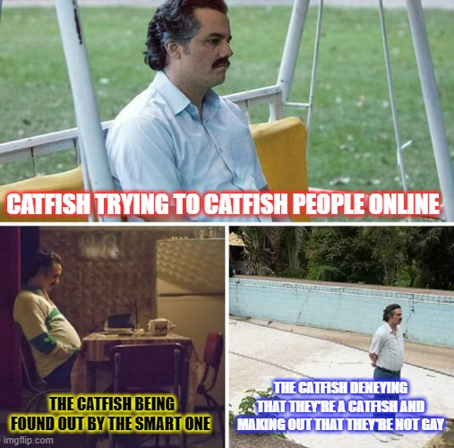 CATFISH |  CATFISH TRYING TO CATFISH PEOPLE ONLINE; THE CATFISH BEING FOUND OUT BY THE SMART ONE; THE CATFISH DENEYING THAT THEY'RE A CATFISH AND MAKING OUT THAT THEY'RE NOT GAY | image tagged in memes,sad pablo escobar,catfish | made w/ Imgflip meme maker