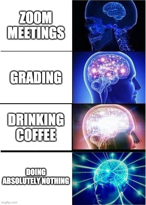 Expanding Brain |  ZOOM MEETINGS; GRADING; DRINKING COFFEE; DOING ABSOLUTELY NOTHING | image tagged in expanding brain,professingforward,academia,phd,higher education,femaleacademics | made w/ Imgflip meme maker