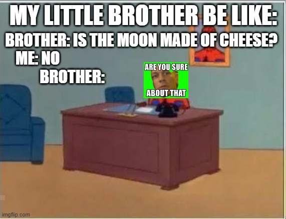 my brother is like |  MY LITTLE BROTHER BE LIKE:; BROTHER: IS THE MOON MADE OF CHEESE? ME: NO                                                                             BROTHER: | image tagged in memes,spiderman computer desk,spiderman | made w/ Imgflip meme maker