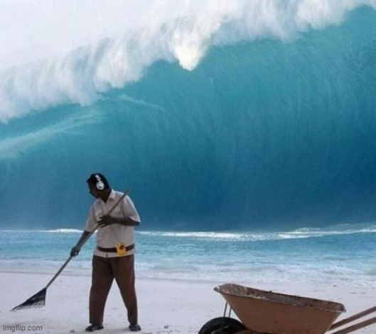 image tagged in beach man wave tsunami ignoring | made w/ Imgflip meme maker