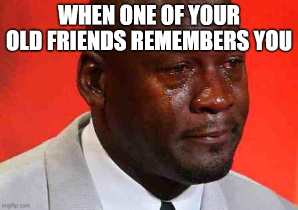 It's nice seeing old friends. Sad to see them go. |  WHEN ONE OF YOUR OLD FRIENDS REMEMBERS YOU | image tagged in crying michael jordan,friends,fun,true,happy | made w/ Imgflip meme maker