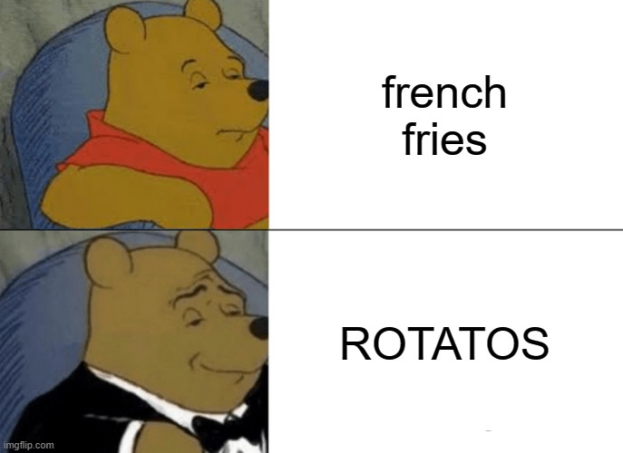 Credit 2 ItsMeGalaxy12 for the meme |  french fries; ROTATOS | image tagged in memes,tuxedo winnie the pooh | made w/ Imgflip meme maker