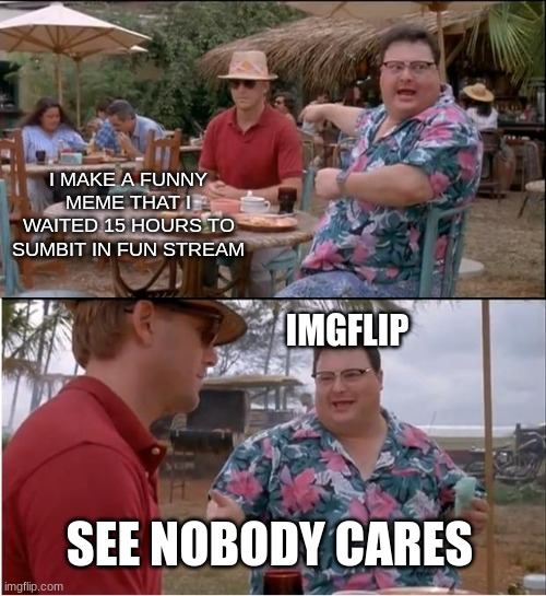 The truth hurts |  I MAKE A FUNNY MEME THAT I WAITED 15 HOURS TO SUMBIT IN FUN STREAM; IMGFLIP; SEE NOBODY CARES | image tagged in memes,see nobody cares | made w/ Imgflip meme maker