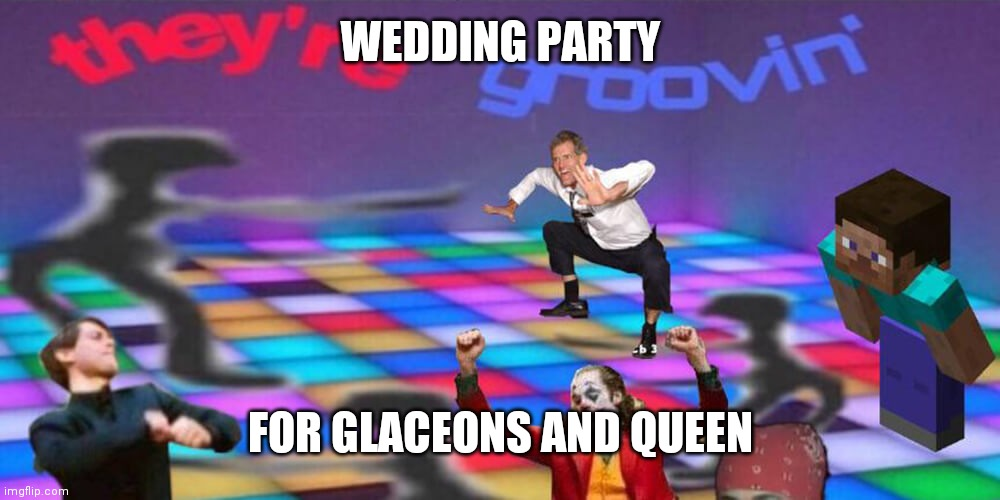 Congrats! |  WEDDING PARTY; FOR GLACEONS AND QUEEN | image tagged in dance party | made w/ Imgflip meme maker