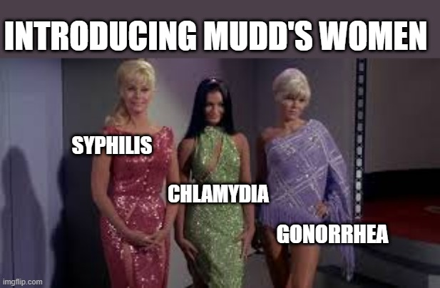 Harry Mudd's Hoes |  INTRODUCING MUDD'S WOMEN; SYPHILIS; CHLAMYDIA; GONORRHEA | image tagged in star trek babes | made w/ Imgflip meme maker