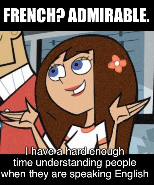 I have a hard enough time understanding people when they are speaking English FRENCH? ADMIRABLE. | made w/ Imgflip meme maker