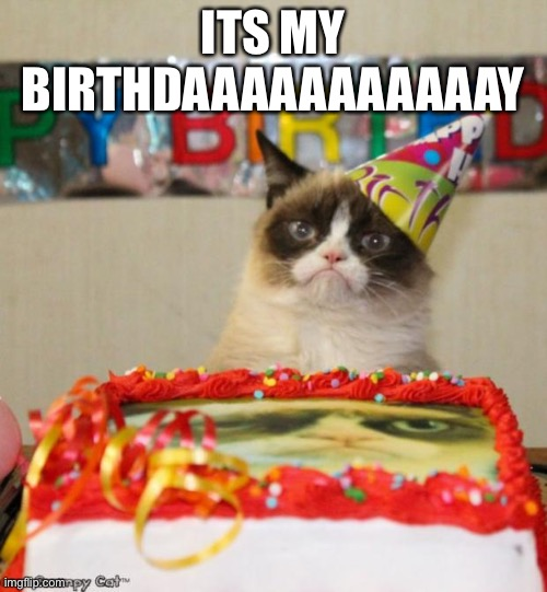 Grumpy Cat Birthday Meme |  ITS MY BIRTHDAAAAAAAAAAAY | image tagged in memes,grumpy cat birthday,grumpy cat | made w/ Imgflip meme maker