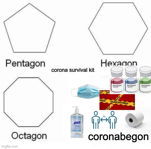 coronabegon |  corona survival kit; coronabegon | image tagged in memes,pentagon hexagon octagon,covid-19 | made w/ Imgflip meme maker