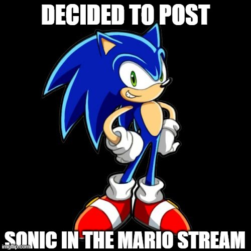 Stand name: U MAD BRO |  DECIDED TO POST; SONIC IN THE MARIO STREAM | image tagged in memes,you're too slow sonic,funny,maric,dastarminers awesome memes,yoloswag | made w/ Imgflip meme maker