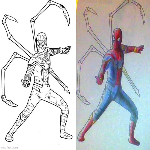 i did not do the back spider arms but i did spider-man | image tagged in drawing,iron spider | made w/ Imgflip meme maker
