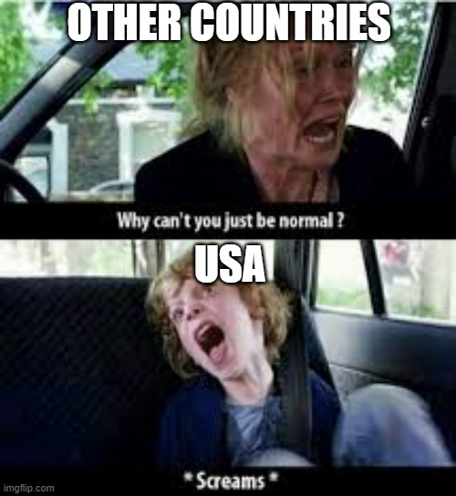 haha lol omg lmfao |  OTHER COUNTRIES; USA | image tagged in why cant you just be normal,usa | made w/ Imgflip meme maker